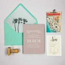 Faire part mariage sur mesure thème Californie, Ruban collectif papeterie, créateur faire-part