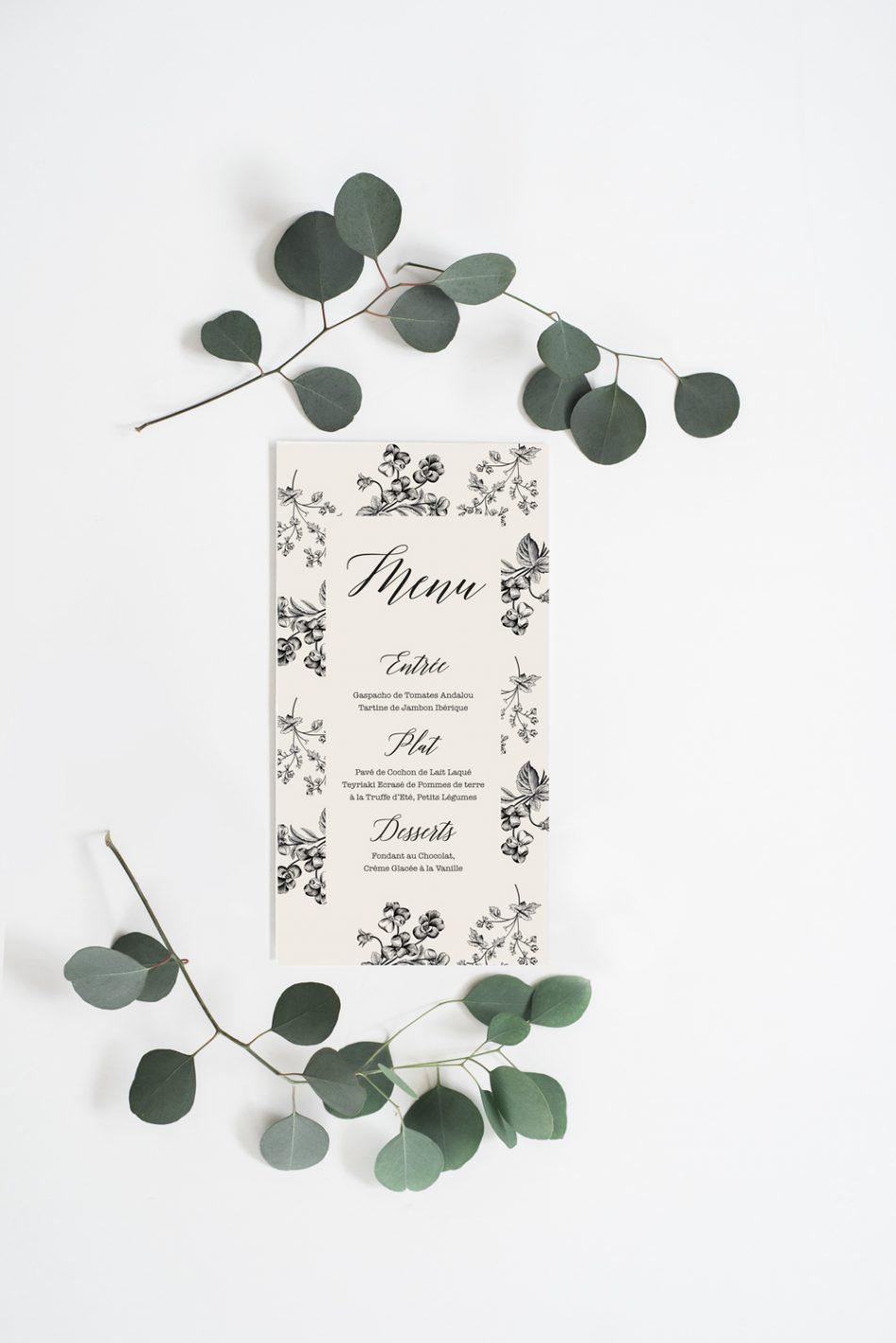 diy menu de mariage champ tre ruban collectif. Black Bedroom Furniture Sets. Home Design Ideas