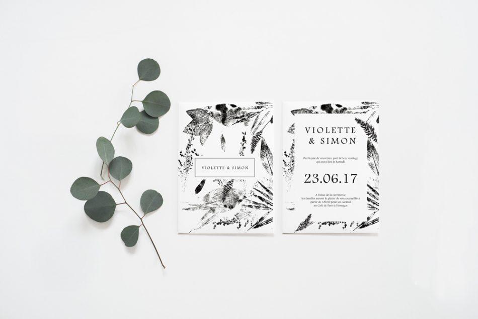 faire part de mariage ambiance classique et proche de la nature avec ses motifs feuilles et brindilles en noir et blanc